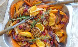 Rozmarynowy Kurczak Kukurydziany z batatami i pomarańczą